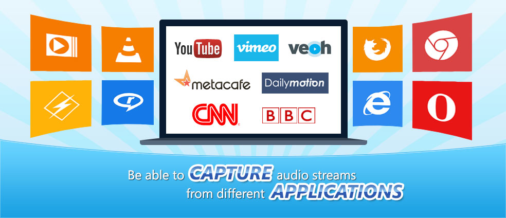 User can capture online audio streams from different applications with AV Voice Changer Diamond 8.0